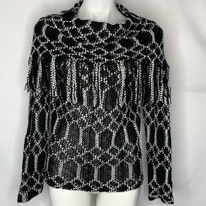 Charming Charlie Black and White Knit Top